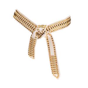 RRP €570 ALBERTA FERRETTI Leather Waist Belt Size L Studded Crumpled Effect