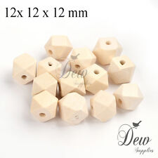 10 Cuboctahedron wood beads 12 x 12 mm unpainted wooden unfinished bead polygon