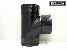 "Solvent 110mm Soil Pipe Swept Tee Branch Triple Socket - Black Glued 4"" ABS Vent"