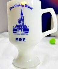 "Vintage WALT DISNEY WORLD MILK GLASS COCOA MUG ""MIKE"" CUP SNOW WHITE CASTLE 12oz"