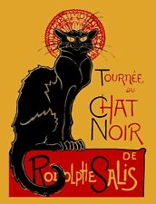 Vintage METAL Plaque Le Chat Noir Black Cat French KITCHEN UK poster print SIGN