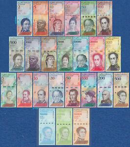 VENEZUELA Set 24 Banknoten 2 bis 100000 Bolivares Inflation 2007-2019 UNC