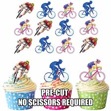 PRECUT Bikes Cycling 12 Edible Cupcake toppers Birthday Party Decorations