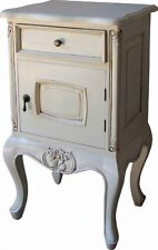 French Bedside Table / Cabinet Antique White With 1 Drawer & Cupboard Bs012p