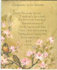 VINTAGE ROBIN SPARROW BIRD PINK FLOWERS ORCHARD SCRIPTURE VERSE CARD ART PRINT
