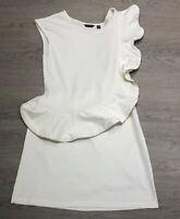 Stunning TED BAKER Cream Zip Ruffled Cotton Dress Size 4 UK 14 Party Wedding