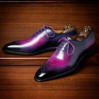 Men's Handmade Leather Purple Patina Formal Dress Shoes, Unique Hand Color Shoes