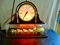 Vintage Budweiser World's Champion Clydesdale Team Lighted Hanging Clock