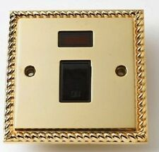Georgian Brass 20 Amp Switched Double Pole Wall Socket Switch With Neon