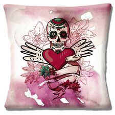 "Vintage Retro Mexican Sugar Skull Day of the Dead Heart 16"" Pillow Cushion Cover"
