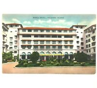 Postcard Manila Hotel Philippine Islands Street View 1940's Front Entrance