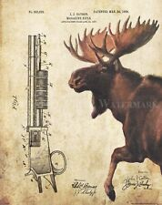 Whitetail Deer Moose Hunting Patent Poster Art Print Rifle Antlers Sheds  PAT436