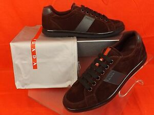 NIB PRADA 4E2845 BURGUNDY SUEDE LEATHER LOGO LACE UP LOW TOP SNEAKERS 5 US 6