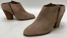 Dolce Vita Womens Tan Beige Suede Zip Up Block Heel Ankle Booties Size 8.5