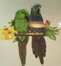 Decals Of 2 Parrot 1 African Gray And 1 Green Parrot 9'' By 8'' Great Colors