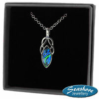 """Celtic Knot Necklace Oval Abalone Shell Pendant Silver Fashion Jewellery 18"""""""
