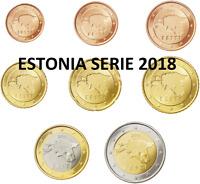 ESTONIA SERIE EUROS 2018  -  8 VALORES DE 1 CENT A 2 EUROS SIN CIRCULAR