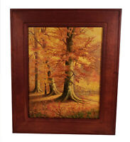 FRAMED VINTAGE LANDSCAPE OIL PAINTING FOREST BEECH TREES AUTUMN LEAVES FOLIAGE