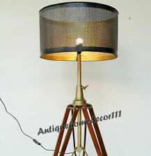 Vintage Style Home Decorative Wooden Floor Shade Lamp Tripod Stand Without Shade