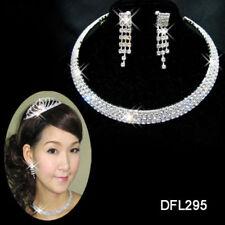 Diamante Crystal Necklace Earrings Set Choker Silver Wedding Party Jewellery