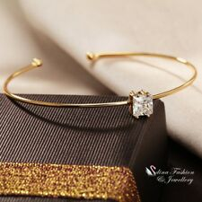 18K Gold Plated AAA Grade Cubic Zirconia Princess Cut Slim Band Cuff Bangle