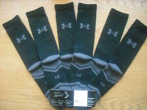 Mens NWT UNDER ARMOUR Crew Socks 3prs Black UA Resistor 3.0 Light Cushion Sz:L