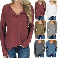 Women's Buttons T-Shirt Loose Shirts Long Sleeve Casual Tee Tops Jumpers LIU