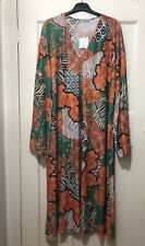 ZARA FLORAL ORANGE GREEN RETRO PRINT KAFTAN COVER UP DRESS SIZE M BNWT