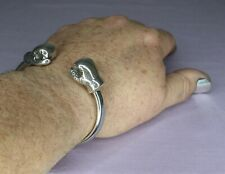 MEN'S STERLING SILVER BOXING GLOVE TORQUE BANGLE, SOLID, HANDCRAFTED  106g