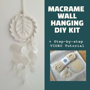 Macrame Leaf Wall Hanging DIY KIT for beginners with Video Tutorial Craft gifts