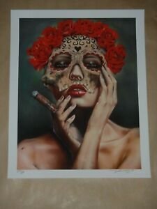 Frida La Muerte Brian Viveros Art Print poster signed Day of the Dead Skull