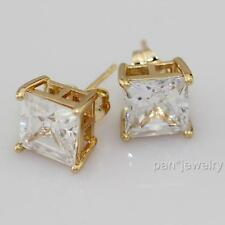 18k Yellow Gold Filled Stud Earrings Lab Diamond 8mm Jewelry Gift
