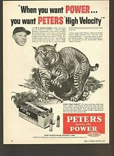 "Vintage Original 1955 Peters High Velocity .22Lr Ammo ""Bobcat"" Art Advertisement"