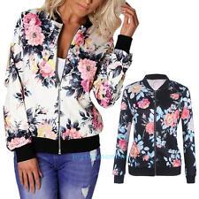 Women Ladies Cotton Flower Floral Print Bomber Jacket Zipper Long Sleeve Coat