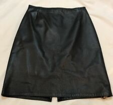 Firenze Black Leather Skirt Size 6 A Line Knee Length Vented Back