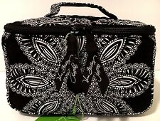 Vera Bradley BLANCO BOUQUET TRAVEL COSMETIC Black Makeup Bag Case NWT