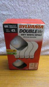Sylvania 60 Watt FOUR PACK Halogen Light Bulbs ~  Soft White Double Life ~ NEW