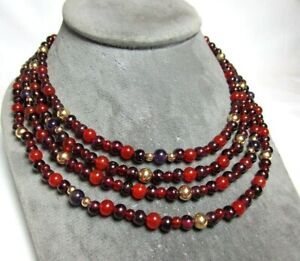 "68 1/2"" Necklace w 10K Gold / Amethyst / Carnelian / Glass 86.7 grams lot 29h9"