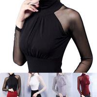 Les femmes à manches longues Mesh patchwork col roulé blouse Solid Slim Tops ITH