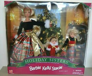 1998 Playline Collector Sp Edt HOLIDAY SISTERS Barbie, Kelly & Stacie Gift Set