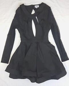 EUC Mura Boutique Size S Dress Black LBD Cut Out Long Sleeve Party Event Mini