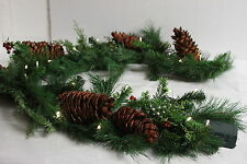 Lit Mixed Greens, Berry & Pinecone GARLAND  by Valerie RTL$44
