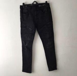 Black Denim Biker Jeans