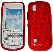 Pattern GEL Jelly Case Cover Protector Pouch for Nokia Asha 300 / 3000 Red