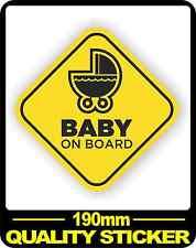 CAR VEHICLE BABY ON BOARD SIGN SAFETY STICKER WARNING DECAL BNIP PRAM 190MM