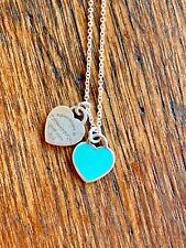 Tiffany & Co. Return to Sender Double Heart Sterling Silver Enamel necklace!!
