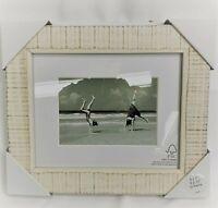 "Threshold Photo Frame NWT 5""x7"" w/ Mat, 8""x10"" to Frame, Washed Wood Cream"