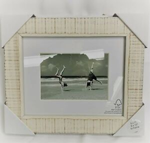 "Threshold Photo Frame NWT 5""x7"" w/ Mat, 8""x10"" to Frame, Washed Wood Cream"
