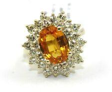 Ovale Mandarin Grenat et Diamant Auréole Bague Solitaire 14k or Jaune 5.18Ct