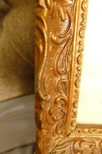 Vintage large rectangular gold ornate wooden picture frame with glass front